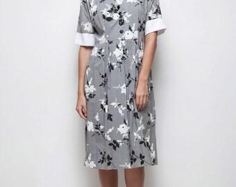 70s does 50s vintage black white floral cotton pleated shirtdress LARGE L