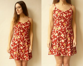 Vintage 1990's Grunge Revival Ditsy Floral Print Mini Dress Size Small