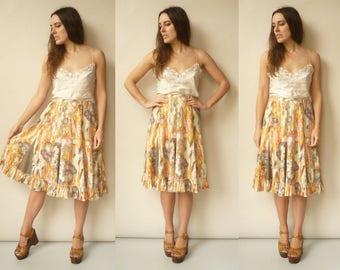 Vintage 1980's Floral Pattern Parisian High Waisted Midi Skirt Size Medium