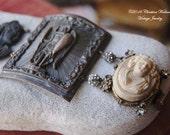 Lady Warrior-- Antique Carved Glass Lava Filigree Shell Cameo BRACELET