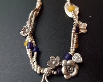 Handmade Sterling Silver and Ceramic Beaded Charm Bracelet - Thai Silver Beaded Bracelet - Hill Tribe Silver Beads - Silver Flower Bracelet