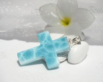 AAA Larimar cross pendant by Larimarandsilver, Sea of the Holy Spirit - turquoise Larimar cross, turtleback, blue cross, handcrafted pendant