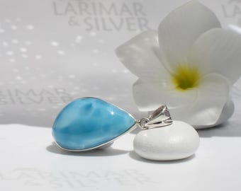 AAA Larimar pendant by Larimarandsilver, Seed of the Sea - royal blue Larimar almond, almond shape, blue almond, handcrafted Larimar pendant