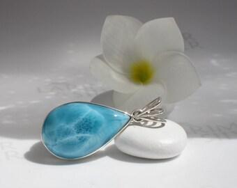 AAA Larimar pendant from Larimarandsilver, Ocean Treasure - sea blue Larimar drop, bohemian blue pear, turtleback, handmade Larimar pendant