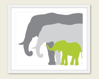 Elephant Art Print / Nursery Elephant Art Print / Green and Gray Nursery Decor / Mother Father and Baby Elephant Print /