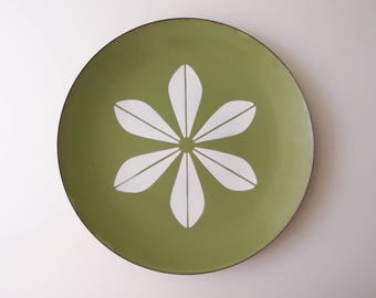 "Cathrineholm Large Lotus 12"" Serving Tray Charger Platter Plate Midcentury Modern enamelware Avocado Green & White"
