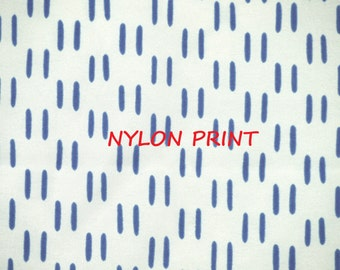 1 YARD, White Blue Mark Print, Fashion or Lining Fabric, Pairs of Short Lines, Lightweight Nylon, B14
