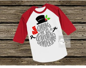 Snowman Shirt, Winter Wonderland Snowman, Snowman, Christmas baseball Tee, Toddler, Christmas shirt, kids shirts