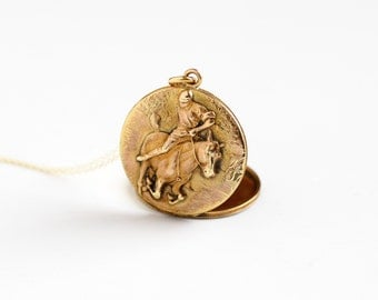 Antique Horse & Jockey Locket Necklace - Vintage Gold Filled Early 1900s Victorian Edwardian Round Equestrian Rare Pendant Fob Jewelry