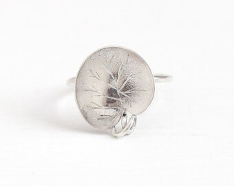 Antique Sterling Silver Water Lily Pad Plant Ring - Vintage Art Nouveau 1910s Size 3 Dainty Stick Pin Conversion Aquatic Edwardian Jewelry