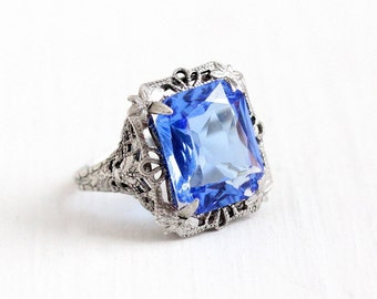 Sale - Antique Art Deco Sterling Silver Simulated Sapphire Ring - Vintage 1920s Size 4 3/4 Blue Glass Stone Filigree Flower Jewelry