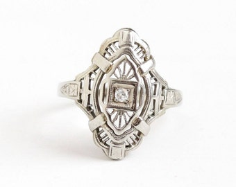 Sale - Vintage 14k White Gold Diamond Filigree Shield Ring - Art Deco 1930s Size 6 Fine Statement Flower Floral Embossed Open Metal Jewelry