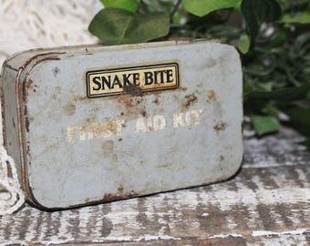 Snake Bite First Aid Kit, Vintage Metal Box, Gray Box, Vintage Snake Bite Kit