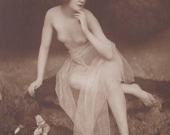 Exquisite Solitary Bather, Image 4, Vintage German Postcard by NPG, circa 1910