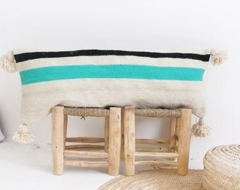 Moroccan POM POM Wool Pillow Cover - Extra Long - Black and Turquoise Bands