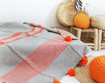 Moroccan Blanket POM POM Gray Cotton - Sripes neon Orange