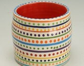 Hand Thrown Crock Bowl with Bright Red Interior and Stripes and Dots Exterior, Small Vase Hand Painted Designs