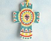 Small Clay Cross, Handmade Ceramic Cross, Confirmation Cross, Christian Ornament, Baptism Cross, Christening Favors