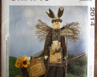 Garden Angel Bunny with Wall Hanging and Decorative Garden Gloves Mccalls Crafts Pattern 2014 UNCUT