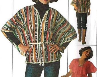 1970s Boho Peasant Poncho Top with Cape Like Collar Simplicity 7706 Uncut FF Size Medium 12- 14 Bust 34 - 36 Women's Vintage Sewing Pattern