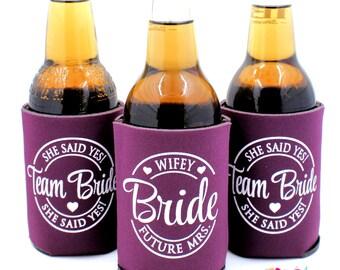 Bachelorette Party Can Cooler, Team Bride, Bachelorette Party Favors, Matching Bride, Beer Bottle Can Cooler, Eggplant