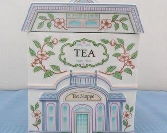 The Lenox Village Canisters, Porcelain 'Tea Shoppe' Cannister, Lenox Tea Shoppe