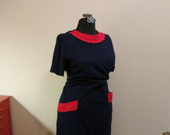 Dress PLUS SIZE mod navy blue red POCKETS a line tee shirt stretch 2X 2XL 3X 3XL