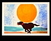 Black Lab watercolor giclee, Labrador Retriever on the beach, dog watercolor painting print, beach house home decor, BLACK matte 8x10 inches