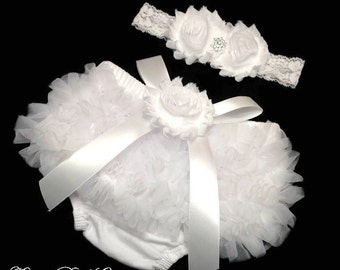 Baby Bloomer Set, White Bloomer and Headband Set, Photo Prop Set, Newborn Bloomer, Ruffle Diaper Cover, Baptism Headband, Christening Outfit