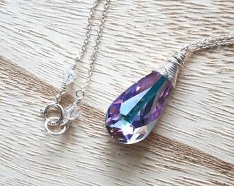 Swarovski Crystal Pendant - Silver Necklace - Wire Wrapped -  Swarovski Pendant - Swarovski Necklace - Crystal Pendant - Large Pendant
