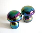 Two Rainbow Hematite Mushrooms