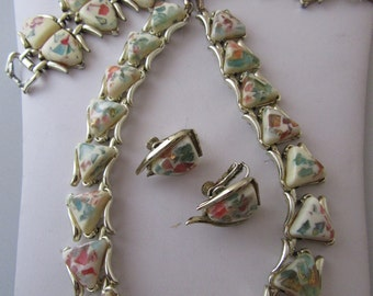 "Vintage ""Coro"" Multicolor Confetti Lucite Necklace, Bracelet, and Earring Set"