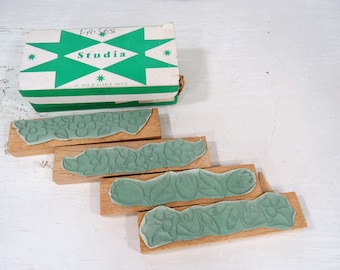 Vintage French Wood Block Rubber Stamps, Flowers, Set of 4 in Original Box, Art, School Supply