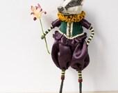 Badger art doll wearing purple bloomers and mustard yellow ruffle collar. Tudor/Elizabethan. OOAK handmade mixed media. Spun cotton ornament