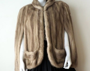 Vintage 1940's/Gray Mink Fur Cape/40's Mink Fur Capelet/WW2 Era Mink Fur Cape/40's Silver Mink Short Cape/Medium