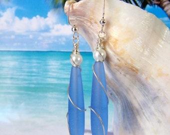 Blue teardrop seaglass beads earrings beach tumbled glass earrings wire wrapped pearl earrings