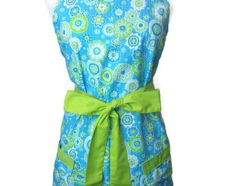 Cute Apron with pockets, Blue and Green floral, Full Hostess Apron, aprons for women, Christmas gift, flirty grilling apron, kitchen apron,