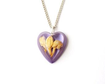 Jasmine Flower Necklace, Flower in Purple Resin Pendant, Flower Jewellery, Jasmine Jewellery, Resin Jewellery, Botanical Jewellery, UK, 2197
