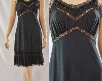 SALE Vintage Slip - 1960's Black Dress Slip - Sixties Full Slip - 1960's Lingerie - Pin-up Lingerie - Small