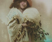 French Vintage New Year Postcard - Girl in Snow Wearing Furs