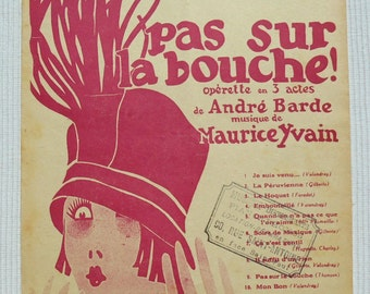 French 1920's Song / Sheet Music - 'Soirs de Mexique' from the Musical Comedy 'Pas Sur La Bouche'