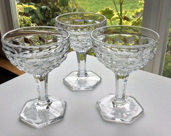 Fostoria American Champagne Tall Sherbert Glasses with Hexagon Base - Set of 3