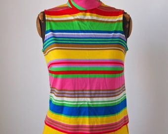 60's-70's Strip Top Mock Turtle Bright Neon Pink Green Knit Zipper Back Size Small