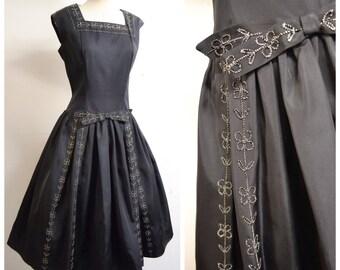 1950s Black taffeta & silver lurex full skirt evening dress / 50s drop waist embroidered party dress - L