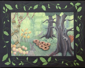 Art quilt Hide-and-Seek Wall hanging Fiber Textile art Unique piece of art Hares Squirrel Rabbit Enchanted Forest Magical World Fairy tale