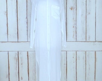 Vintage Anne Cole white sheer crinkle button down long duster cardigan cover up/white maxi shirt dress/medium
