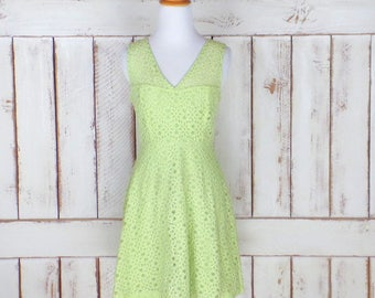 90s vintage light green stretch lace floral eyelet dress/sheer lace dress/short green sleeveless lace dress