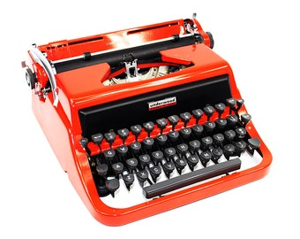 Vintage Red Underwood Typewriter in Original Case Fully Serviced Working Typewriter
