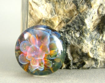 Island Floral Lampwork Glass Cabochon - Jewelry Making Supply - 17mm