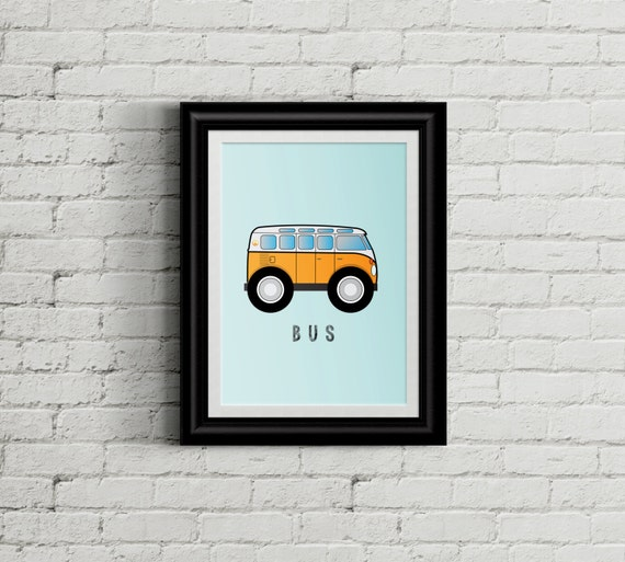 VW Bus Kid 39 S Bedroom Wall Art Hippie Boys Room Decor
